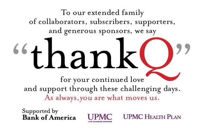"Quantum Theatre thanks ""Q"" for your support"